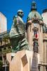 Statue of Salvador Allende Gossens in Plaza de la Constitucion in Santiago, Chile, South America.