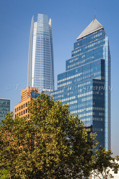 Office towers in the Providencia district of Santiago, Chile, South America.