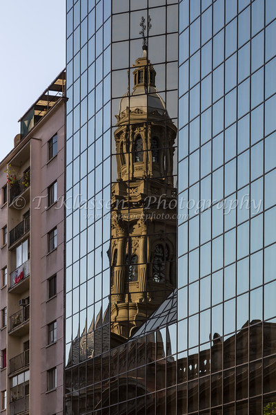 Colonial and modern buildings at Plaza de Armas, Santiago, Chile, South America.