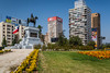 Plaza Baquedano and the equestrian statue to General Baquedano, Santiago, Chile, South America.