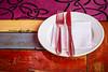 Decorative table setting at a restaurant at Patio Bellavista, on Pio Nono Street, Providencia, Santiago, Chile, South America.