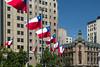 Chilean flags in the  Plaza de la Constitucion in Santiago, Chile, South America.