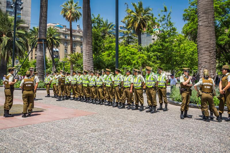 The Carabineros, Chilean security forces drill team in Plaza de Armas, Santiago, Chile, South America.