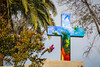 A colored cross at the Sanctuary of the Immaculate Conception on San Cristobal Hill, Santiago, Chile, South America.