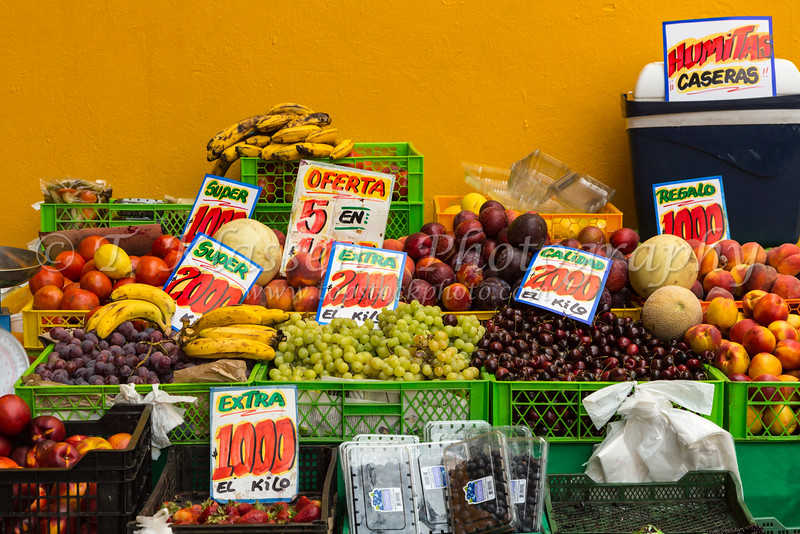 An outdoor street fruit market display in Santiago, Chile, South America.