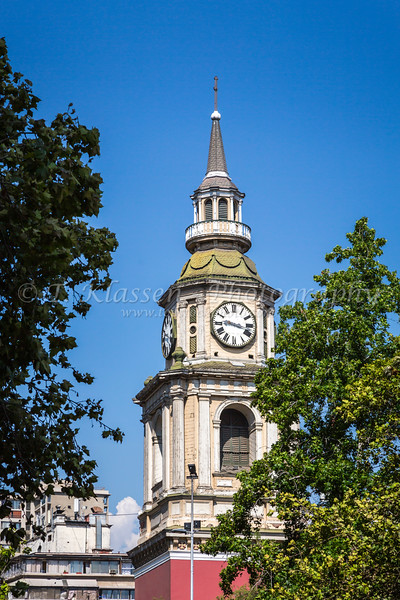 The Clock tower of the historic San Francisco church in central Santiago, Chile, South America.