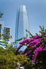 The Great Santiago Tower with bougainvilea flowers in Santiago, Chile, South America.