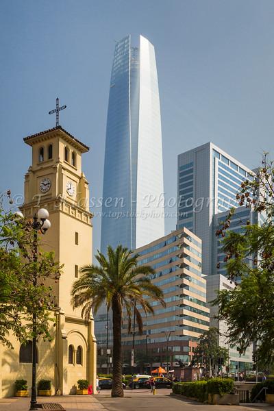 The Iglesia Catedral Castrense near the Costanero Center in Santiago, Chile, South America.