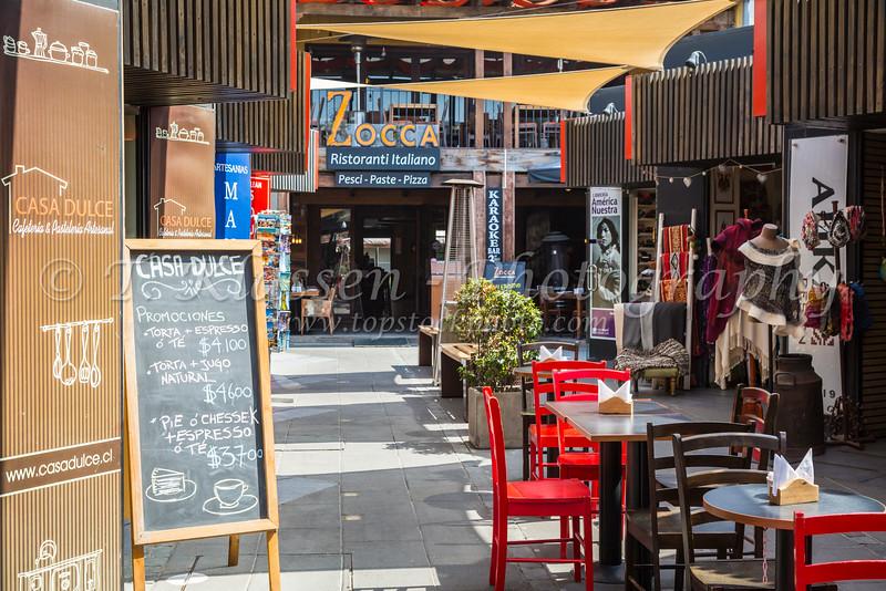 Shops and restaurants at Patio Bellavista, on Pio Nono Street, Providencia, Santiago, Chile, South America.