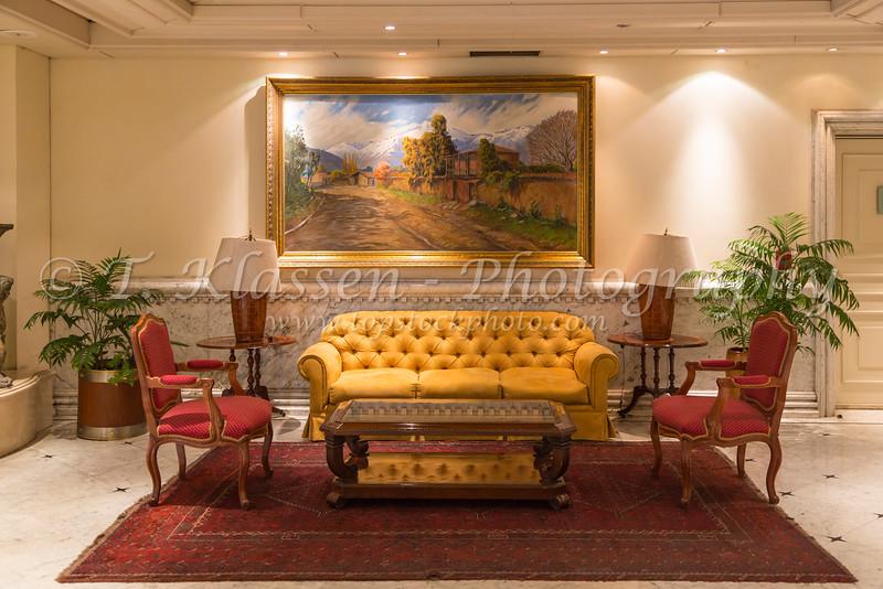 Interior decor of the Santiago Intercontinental Hotel Providenica in Santiago, Chile, South America.