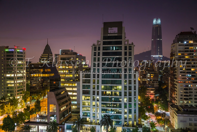 The skyline of Santiago, Chile, South America, at dusk.
