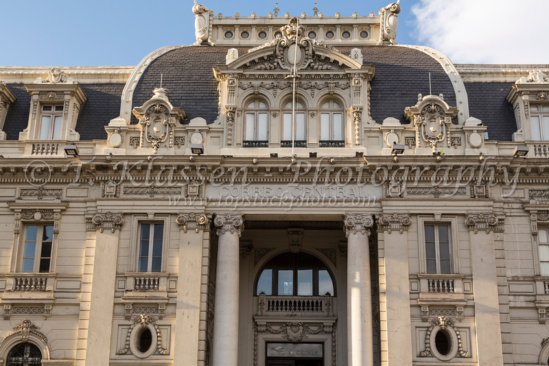 The building facade of the historical Post Office  at Plaza de Armas, Santiago, Chile, South America.