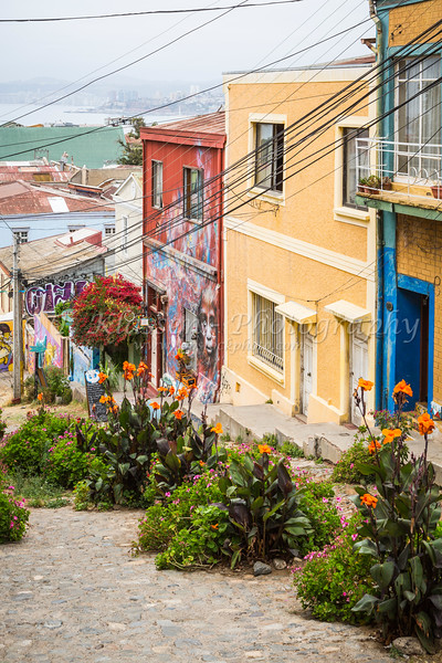 The pastel colors of buildings, shops and restaurants in Valparaiso, Chile, South America.