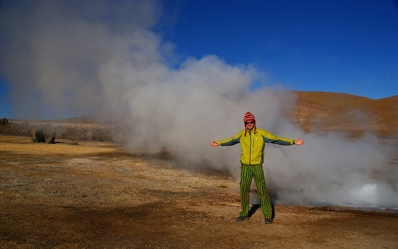 "<a href=""http://nomadicsamuel.com"">http://nomadicsamuel.com</a> : Today's daily travel photo is of Nomadic Samuel standing nearby the El Tatio geysers located in the Atacama desert region of Northern Chile."