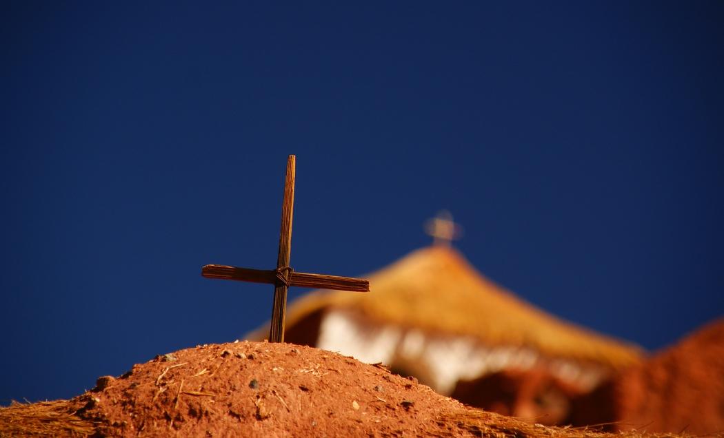 Christian cross at a church in San Pedro de Atacama, Chile