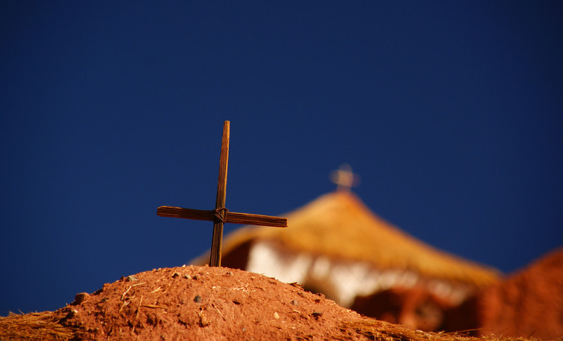 """A Christian cross on a hill nearby a local church - San Pedro de Atacama, Chile.  To view my travel gallery from Atacama, Chile click on the photo. <a href=""""http://nomadicsamuel.com"""">http://nomadicsamuel.com</a>"""