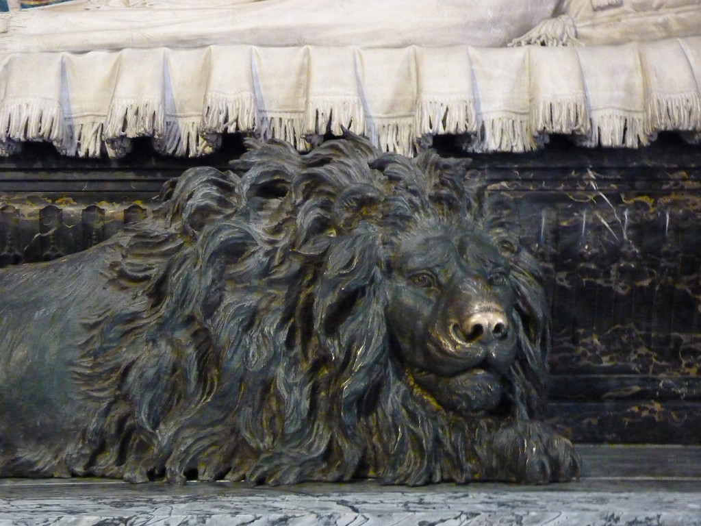 Inside the Cathedral - lion.  It looks like people rub his nose.