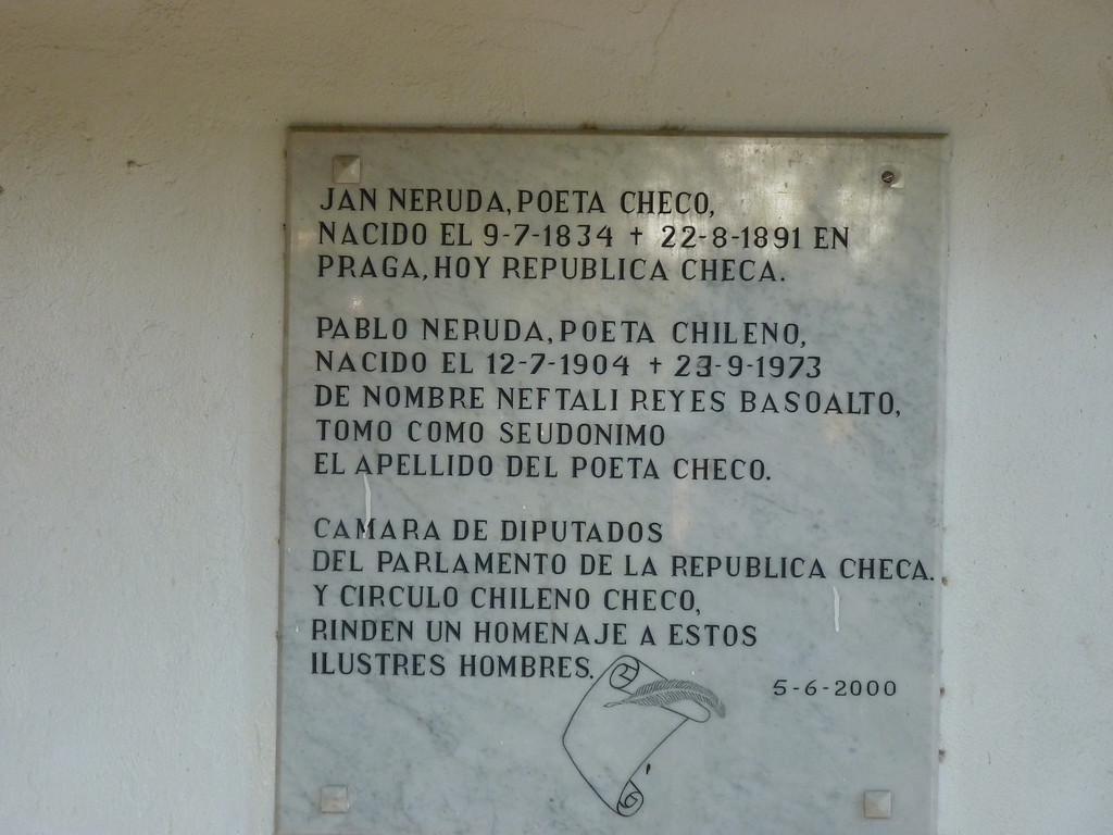Plaque about Jan Neruda, who may have been the inspiration when Pablo Neruda picked a pen name.