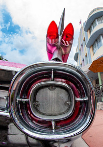 Bullet tail lights and the big fin of a 1959 Cadillac.  South Beach, Miami.