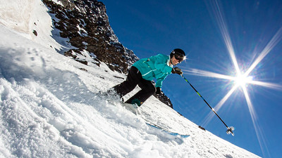 Linda skiing Roca Jack, Portillo Chile.  With an average steepness of almost 45 degrees it takes focus and concentration on each turn.