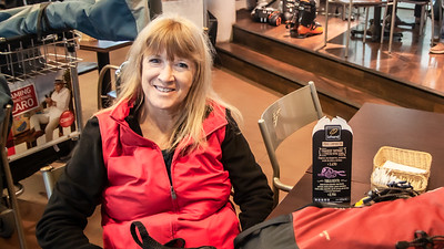 Hanging out at the Santiago airport Linda waits for our shuttle bus ride to Portillo.