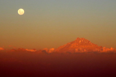 Sunset & Moonrise over the Andes, Santiago, Chile