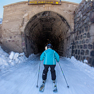 All that is left of the railroad that used to service Portillo is this tunnel.  It was great fun to ski through for it was wired for sound.  A steam train would whistle and chug its way with you as you skied through.