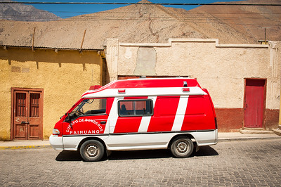 Firefighters van parked on the street, Pisco Elqui, Chile, South America