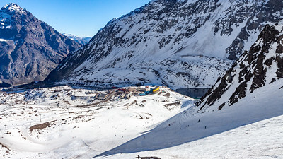 The view from the Las Lomas ski run over looks the infamous yellow Hotel Portillo.  You can also see the avalanche chute of Roca Jack and Kilometro Lanzado.  It was here that in 1978 Steve McKinney was the first human to break the 200 kph (124 mph) barrier on skis.