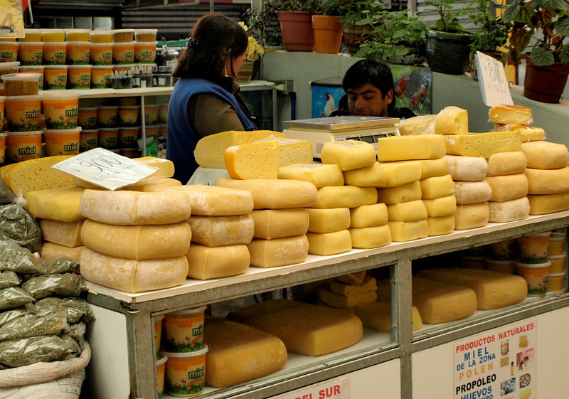 Temuco market ~ Fresh, local cheese and delicious honey