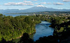 View of Volcan Villarrica, town and river from great vantage point just outside town