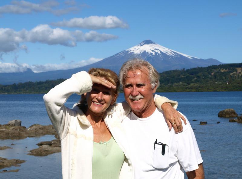 Friend Paul took pic of us at Villarrica lake, volcano