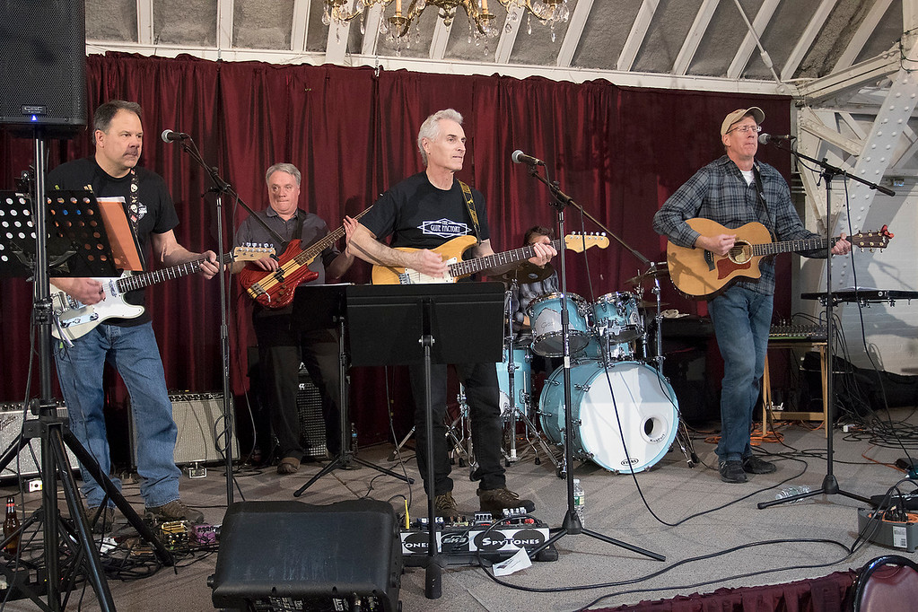 ". The Third annual Karing 4 Kidz chili cook-off  was held at the Fitchburg Senior Center Saturday, May 4, 2019. ""The Glue Factory\"" entertains the crow at the event. SENTINEL & ENTERPRISE/JOHN LOVE"