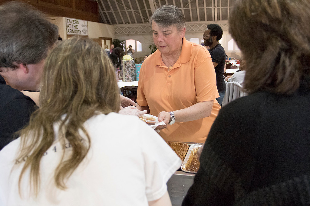 . The Third annual Karing 4 Kidz chili cook-off  was held at the Fitchburg Senior Center Saturday, May 4, 2019. Donna Cote from Dudley get her chili samples a the event. SENTINEL & ENTERPRISE/JOHN LOVE