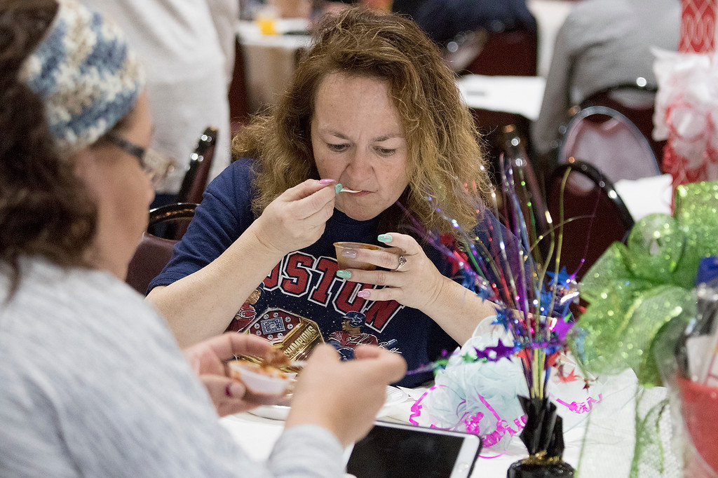 . The Third annual Karing 4 Kidz chili cook-off  was held at the Fitchburg Senior Center Saturday, May 4, 2019. Trying some chili is Barbara Lando from Leominster. SENTINEL & ENTERPRISE/JOHN LOVE