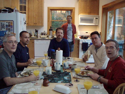 Saturday morning, Jon and Mike cooked blueberry pancakes for everyone that included real maple syrup and coffee.