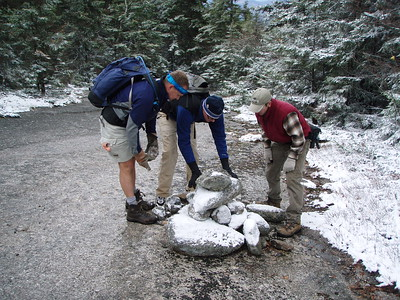 To make it easier for winter hikers to follow the trail Mike's crew rebuilt cairns that had crumbled over the year.  BEFORE