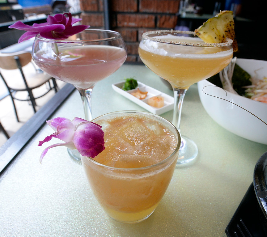 . Drinks created by Ben Roper, Mai-Tai, Pinkey Promise, upper left, and Foo Dog at Chimera, a new restaurant at 2014 10th Street in Boulder. Cliff Grassmick  Photographer  May 30,  2018