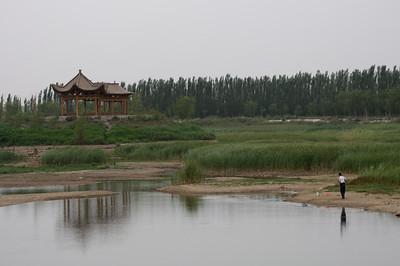 Fishing near the Jiayuguan section of the Great Wall