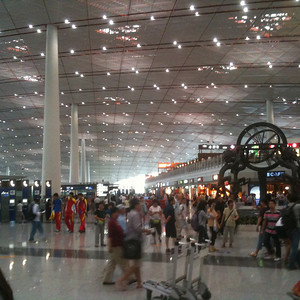 Completely overhauled for the 2008 Olympics, the Beijing airport is huge and beautiful
