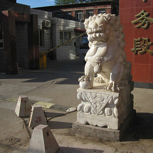 Marbe lion outside a building. You see these everywhere in China, and there are usually two, one on each side of the main entrance. And each one usually has a ball under one paw