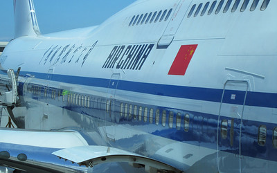 Air China plane before leaving for the twelve-hour flight to Beijing