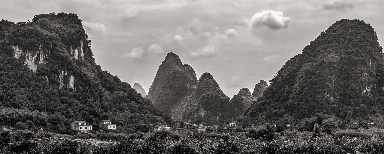"Mountain Village not far From Guilin. 40""x 16""."