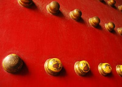Door bolts 9 across, 9 down at the Forbidden City, Beijing