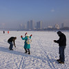 Snowball fight on the Songhua River