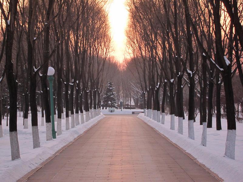 Snowy pathway at sunset on Sun Island