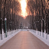 Snowy pathway at sunset on Sun Island