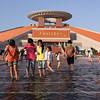 Children play in the water outside the Fujian-Taiwan Kinship Museum