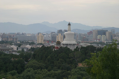 Beihai Park, the Beijing skyline, and the mountains to the northwest.