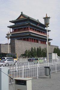 The Qianmen gate and the surviving wall.